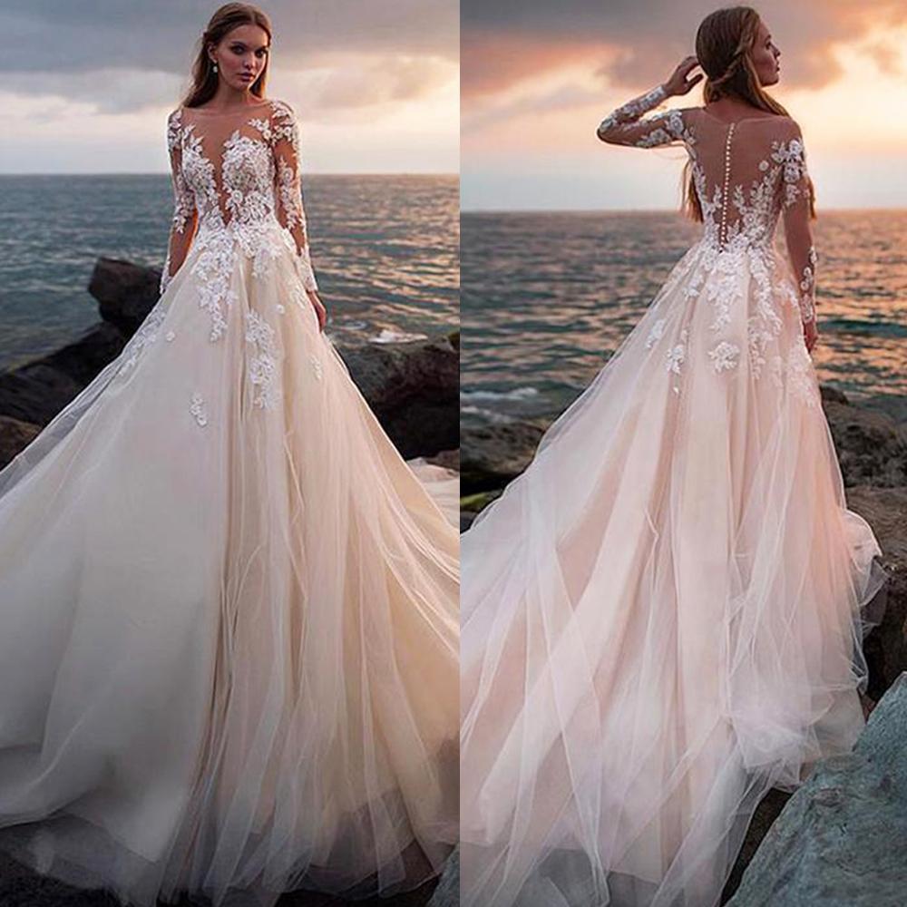 Ilusão botão luxuoso completa vestido de casamento mangas Backless Bola Lace vestido de casamento vestidos personalizado vestido nupcial Robe De Mariage