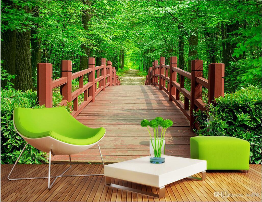 WDBH 3d papel de parede personalizado de fotografias de parque de madeira jardim Ponte fundo da paisagem casa decoração da sala murais de parede papel de parede 3D para paredes 3 d