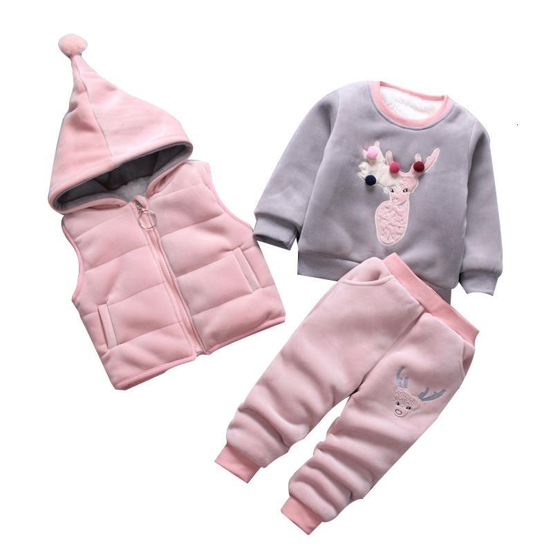 3pcs / set invernale per bambini Set di abbigliamento in cotone cervi Natale Snowsuit addensare Felpa Warm vestito per le ragazze ragazzo Bambini ClothesMX190916