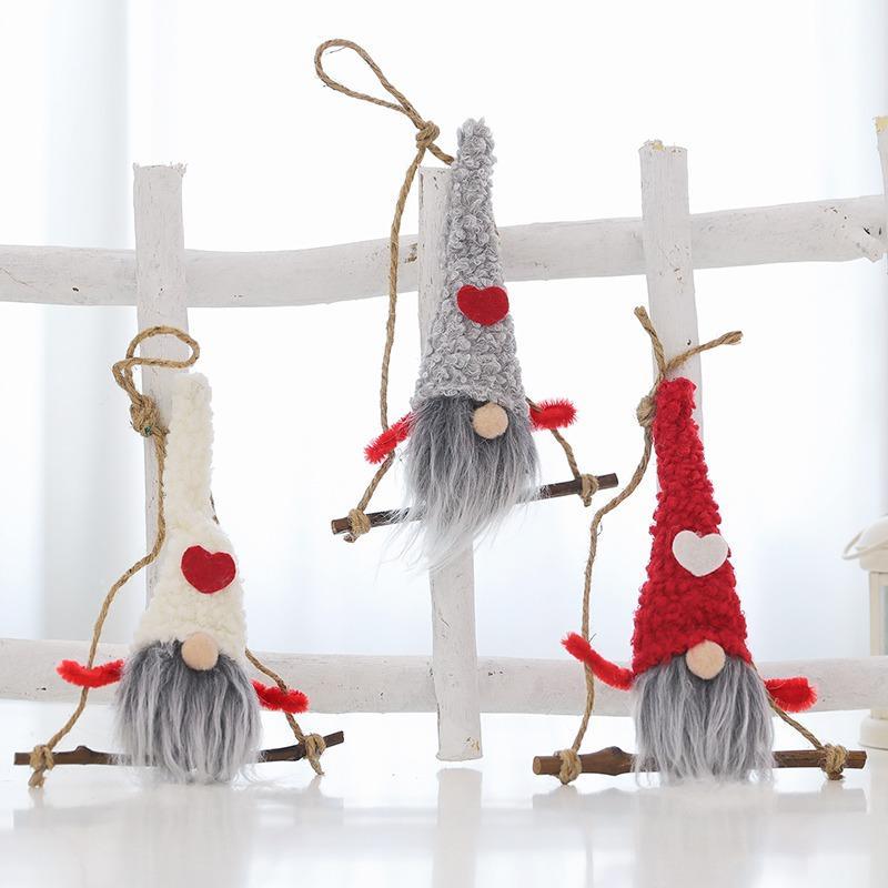أفخم دمية غنوم قلادة عيد الميلاد قطرة الحلي شجرة عيد الميلاد عطلة زينة