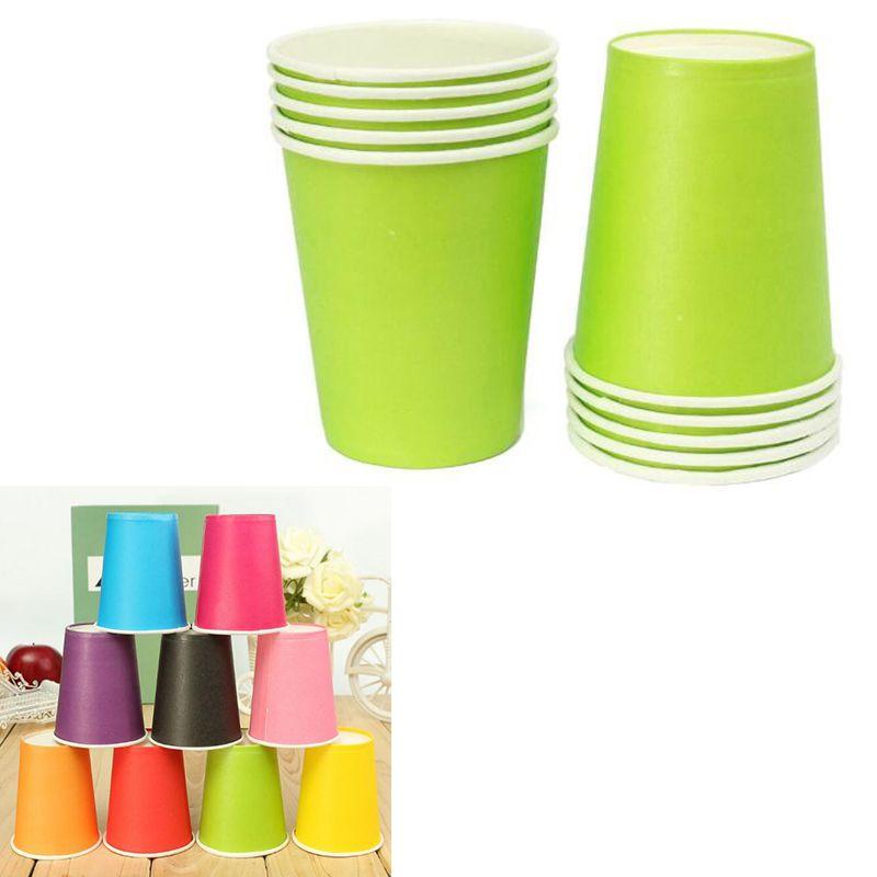 Taza de papel 20pcs de la categoría alimenticia Vajilla Desechable fiesta de cumpleaños de color sólido vajilla desechables para catering grueso vaso de papel coloreado