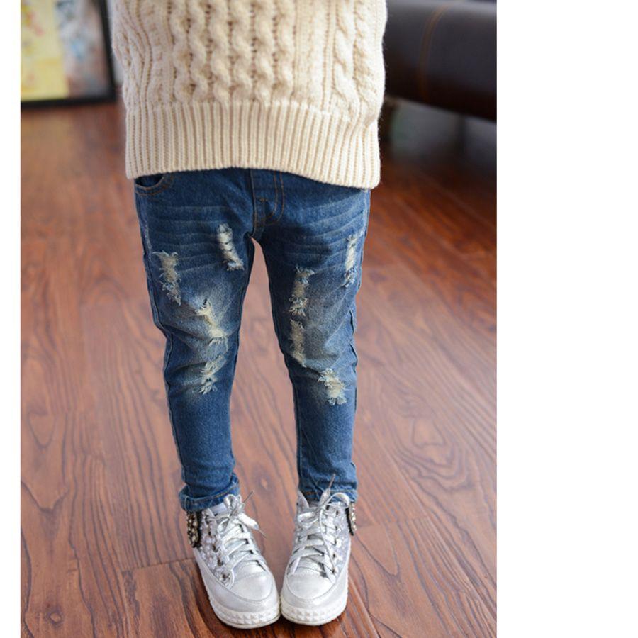 الخريف بنات سراويل الملابس الكورية هول أزياء أطفال جينز عارضة ضوء غسل مرونة الخصر منتظم الأطفال سروال جينز