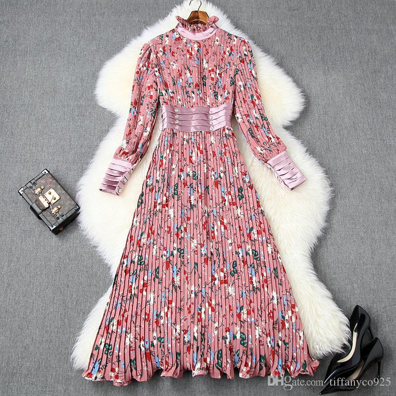 2020 весна лето розовый с длинным рукавом круглым вырезом Цветочные печати Щитовые плиссе середины икр платья вскользь платья LJ02T10563