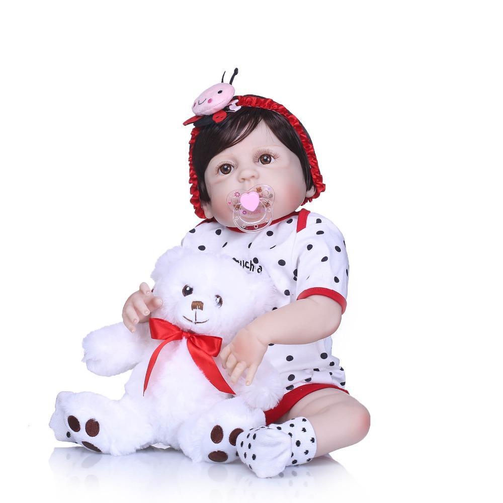 Bebe Reborn Full Silicone Body Reborn Baby Doll Toys LifeLike Real 22inch Newborn Girl Princess Babies Doll Bathe Toy Kid Gift