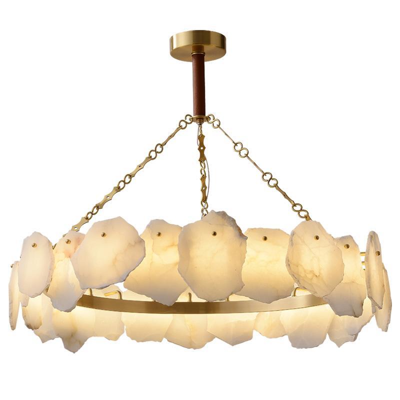 Nordic Медь Белый мрамор LED Люстра Luxury Art Home Гостиная Подвеска Свет Декор Светильник PA0622