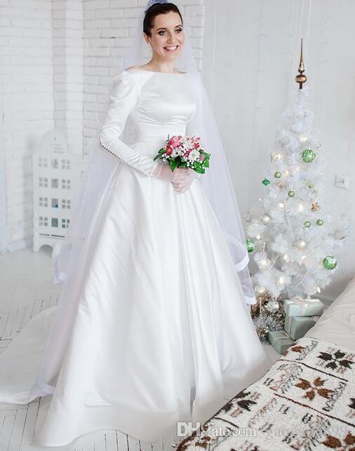 2019 beyaz A-Line leke Gelinlik Gelin Törenlerinde zarif kapalı düğme muhteşem Gelinlikler çarpıcı vestidos de novia custom made