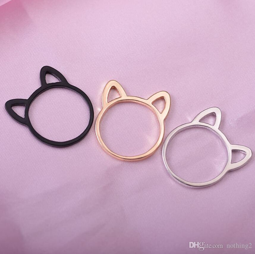 보석 고양이의 귀 밴드는 여성 귀여운 핫 패션 간단한 중공 아웃 고양이의 귀 모양 반지 반지