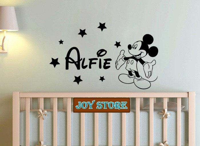 Personalised Large Girl Name Mouse Wall Sticker Any Name Decal Boys Bedroom  Wall Sticker Home Decoration 57cm*95cm Baby Nursery Wall Decals Baby ...