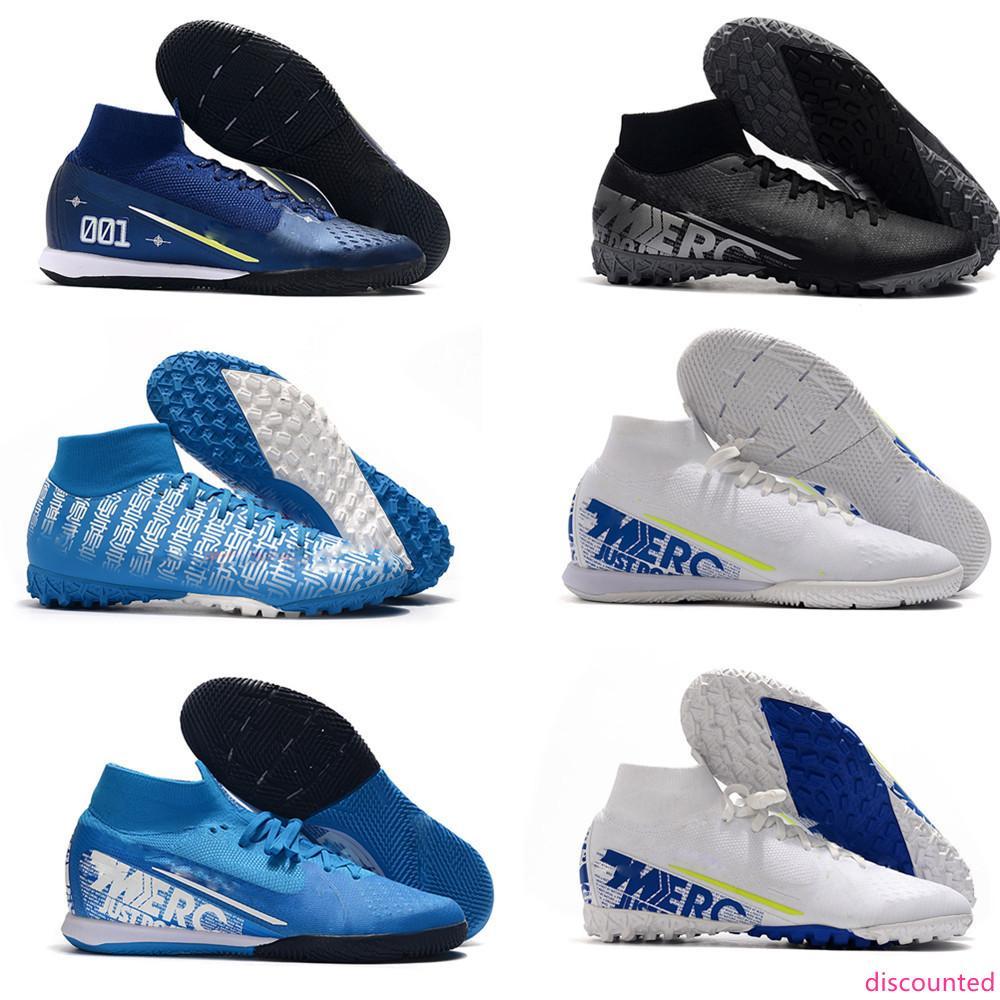 Equipa mais novas Mercurial Superfly VII Clube IC TF Indoor futebol chuteiras Neymar Designer alta ajudar os formadores de Futebol Botas Sports Shoes