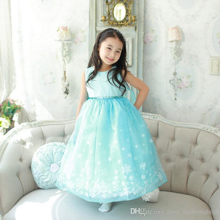 Retail kids designer dress girls Ice Snow summer sleeveless Princess Dress Children party Halloween Christmas costume cosplay evening dress