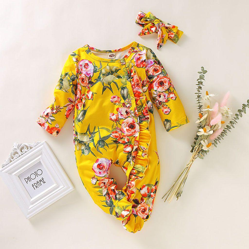 2019 Stylish Print Romper Newborn Infant Baby Girl Boy Footed Sleeper Romper Headband Clothes Outfits bebek tulum recem nascido