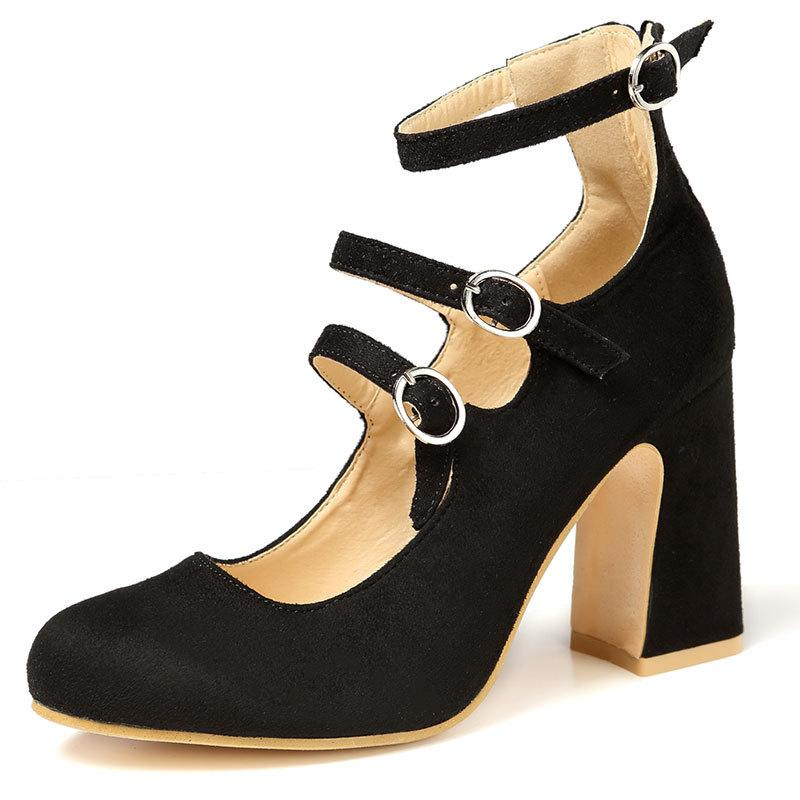 BOMBAS fivela palavra 2020 grande tamanho do salto alto das mulheres com a cabeça rodada de espessura sapatos de salto alto cor das mulheres sólidos