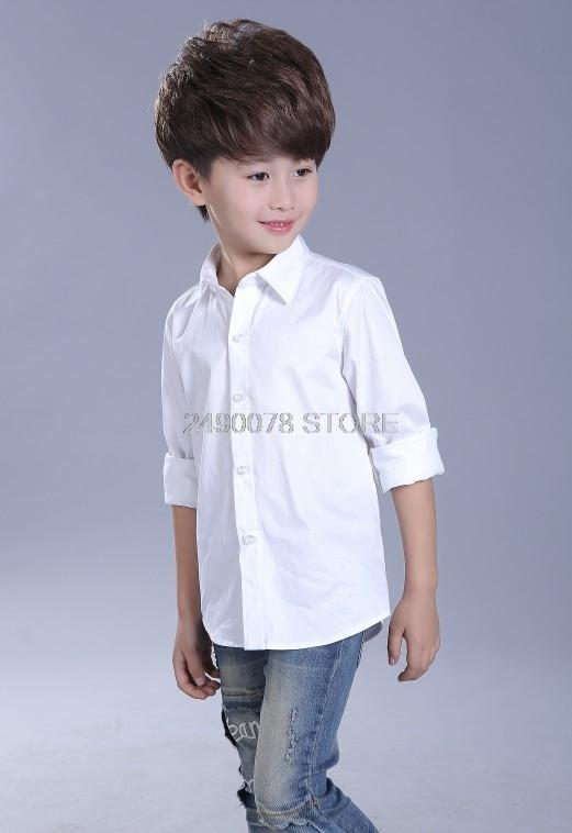Le ragazze dei ragazzi della scuola vestito convenzionale camicia camicia di marca modo del manicotto lungo bianco per i grandi ragazzi bambini Prestazioni Abbigliamento Blusa