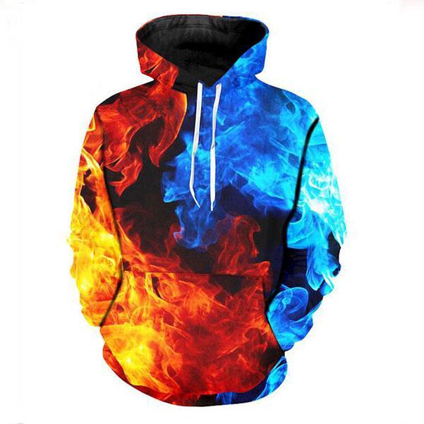 Mens Designer Hoodies für Frauen Männer Paare Sweatshirt Lovers 3d Feuer Rot Blau Hoodies Coats Hoodies Tees Kleidung M0254