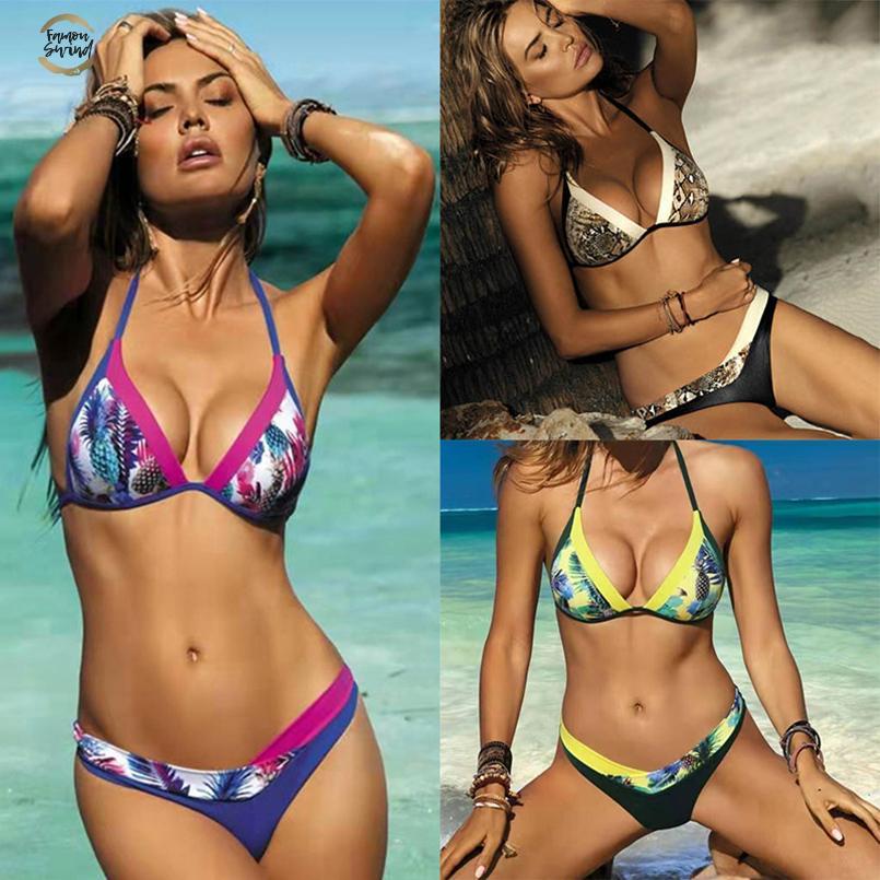 Sexy Bikini 2019 Womens Swimsuit Bikini Set emenda Printing Backless Swimwear Mulheres Biquinis Biquinis Praia Sexy Swim Suit