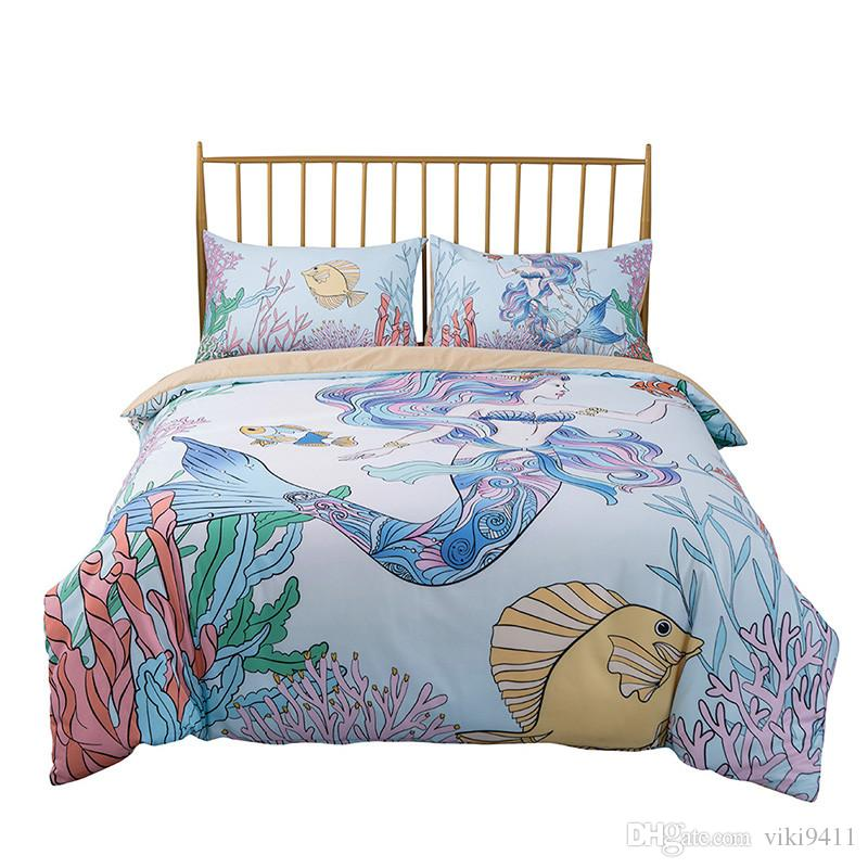 3D Cartoon Mermaid Princess Printed Bedding 3PCS Bedclothes Queen UK Size AU Size CuteKids Duvet Cover Colorful Pink Blue Girly Bedspreads