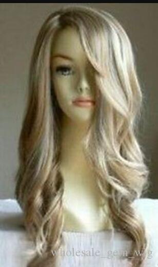 WIG LL ZCD HOT Free New elegante longo loiro ondulado saudável peruca de cabelo das mulheres