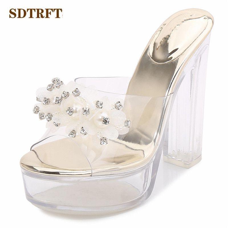 SDTRFT Sommer Damen Nachtclub Schuhe Frau Sandalen transparente Plattform-reizvoll 13cm Thick-Absatz-PVC-Perlen-Diamant-Slipper