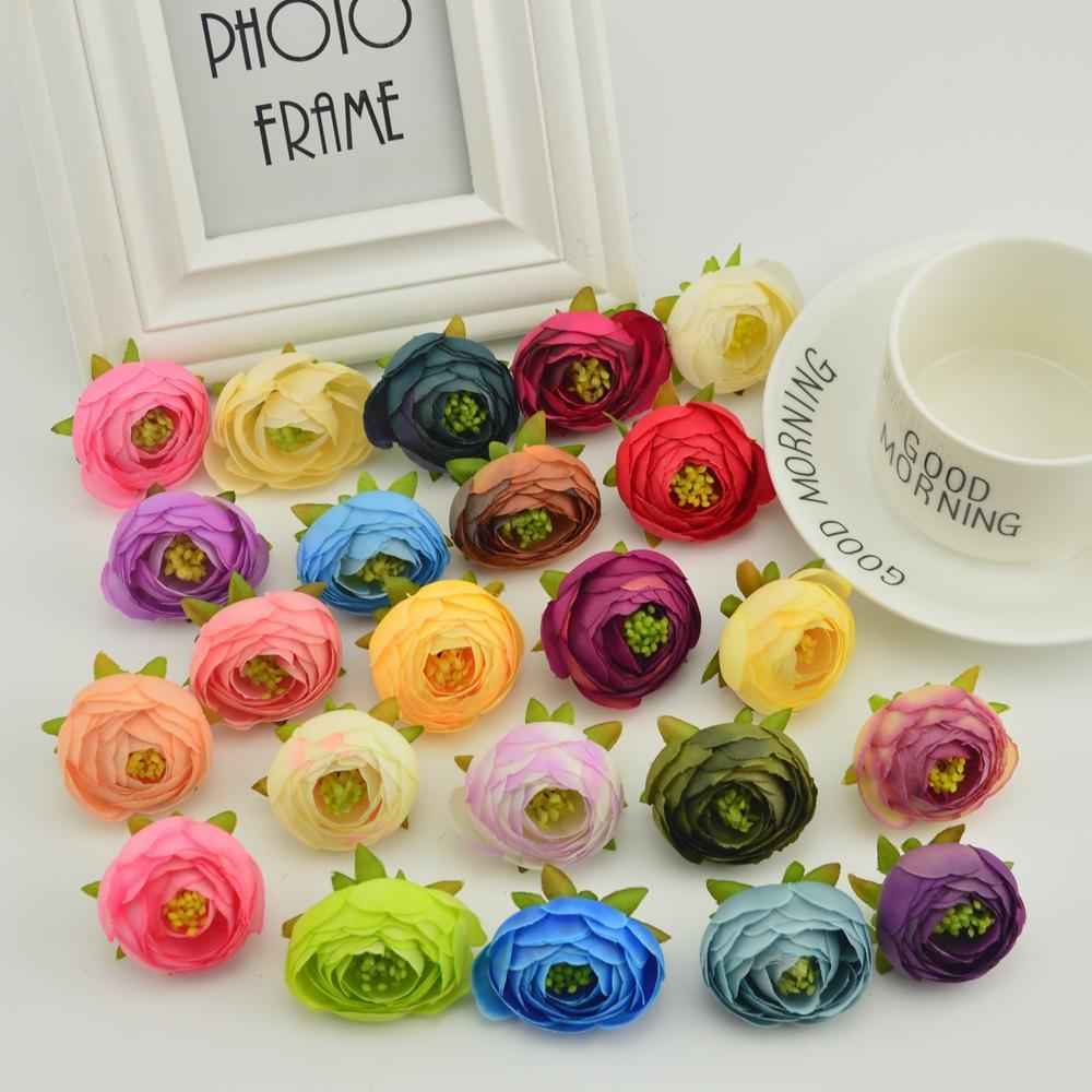 30pcs té de rosa de seda brote del té estambres para la costura Inicio de la boda accesorios de decoración DIY novia ramo de flores artificiales baratas