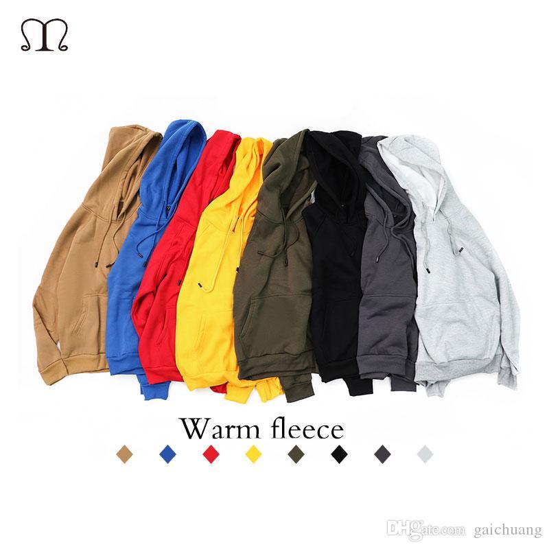 Hoodies Männer Kleidung 2018 Neue Marke Männlichen Langarm Solide Mit Kapuze Sweatshirts Beiläufige Warme Fleece Herren Hoody Trainingsanzug US / Eur Größe 4 sätze / los
