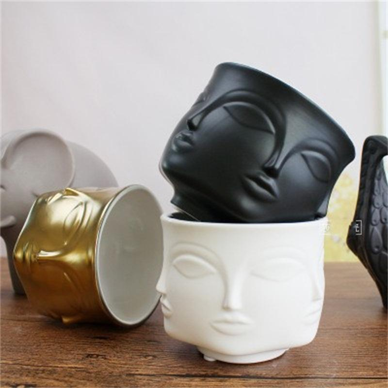 """Small Ceramic Flower Pot Garden Planters 4.5/"""" Plant Containers with Human Face"""
