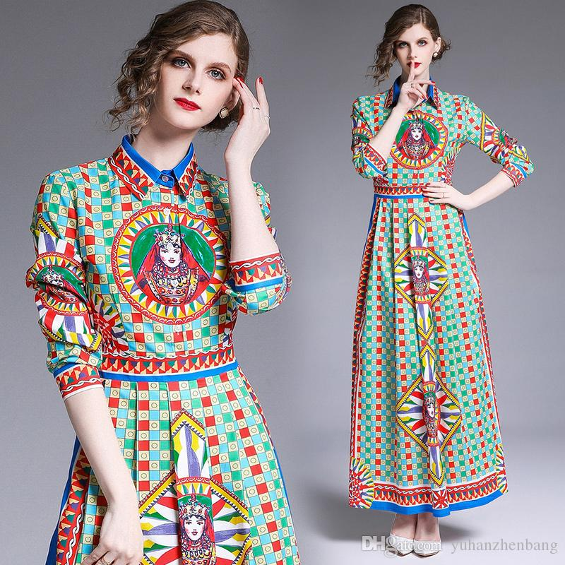 럭셔리 장소 빈티지 맥시 파티 드레스 여성 2019 활주로 우아한 인쇄 여성 단추 전면 긴 소매 A 라인 캐주얼 셔츠 플리츠 드레스