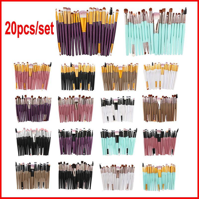 20pcs/set Eye Makeup Brushes Professional Cosmetic Brush set With nature Contour Powder Cosmetics Make up Brush