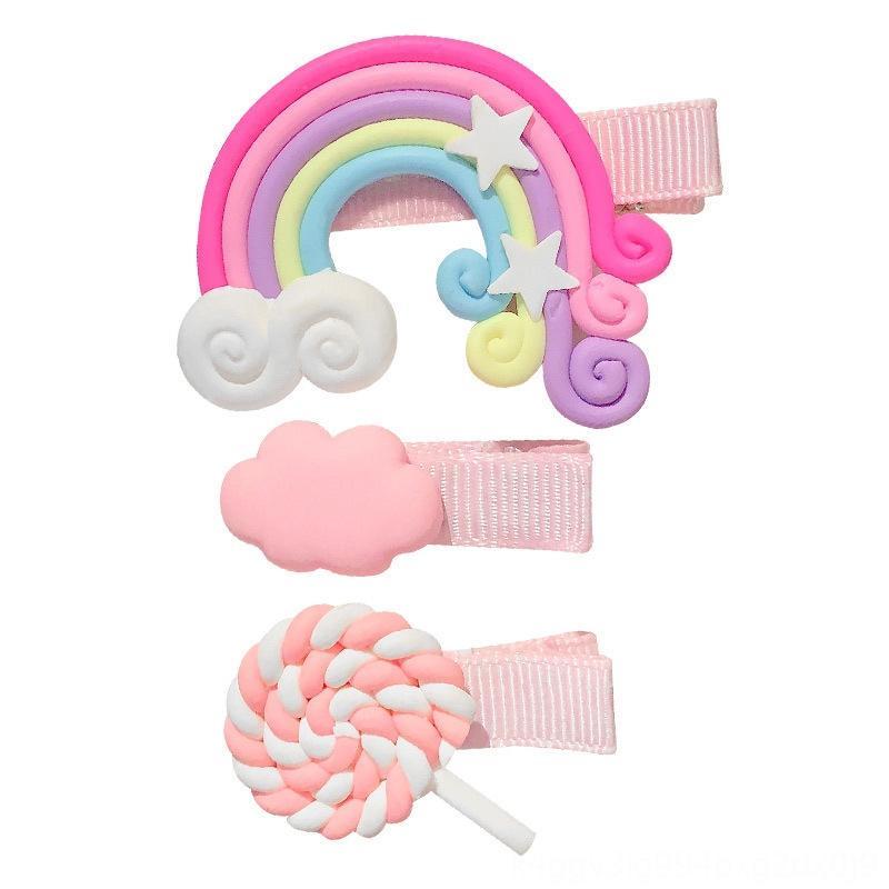 Rainbow Lollipop Colorato Divano Divano Quicks e tornante Cute Pick Pick Piccola Girl's Baby's Hair Accessory clip