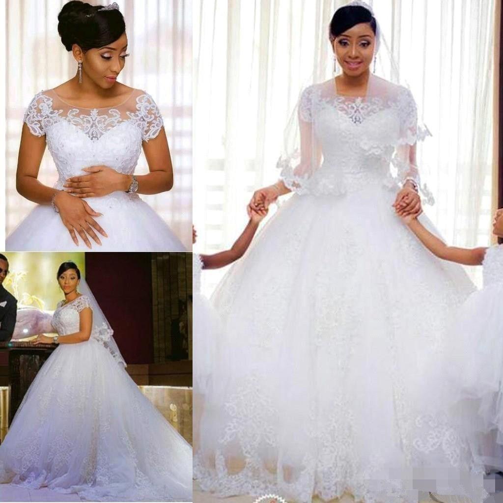 El nuevo cordón de la vendimia 2020 vestidos de boda de la joya con las mangas cortas blanca moldeada Appliues tul de novia vestidos de una línea de novia baratos Modest 93