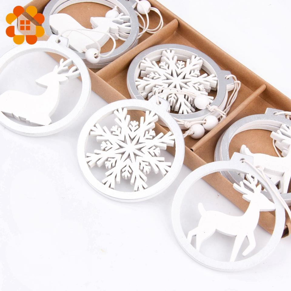 3PCS/lot Silver White Deer Snowflake Wooden Christmas Pendants Decorations DIY Wood Crafts XMAS Ornaments Festival Party Decor