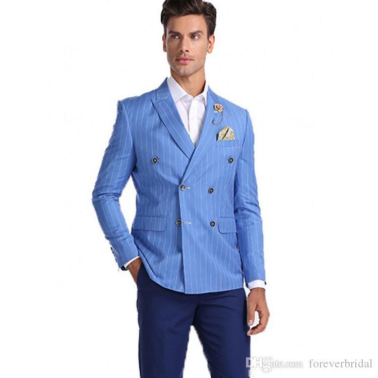 Moda Stripe Azul Noivo Smoking Double Breasted Padrinhos de Casamento Terno Excelentes Homens Formais Blazer Jaqueta de Baile Apenas Uma Peça