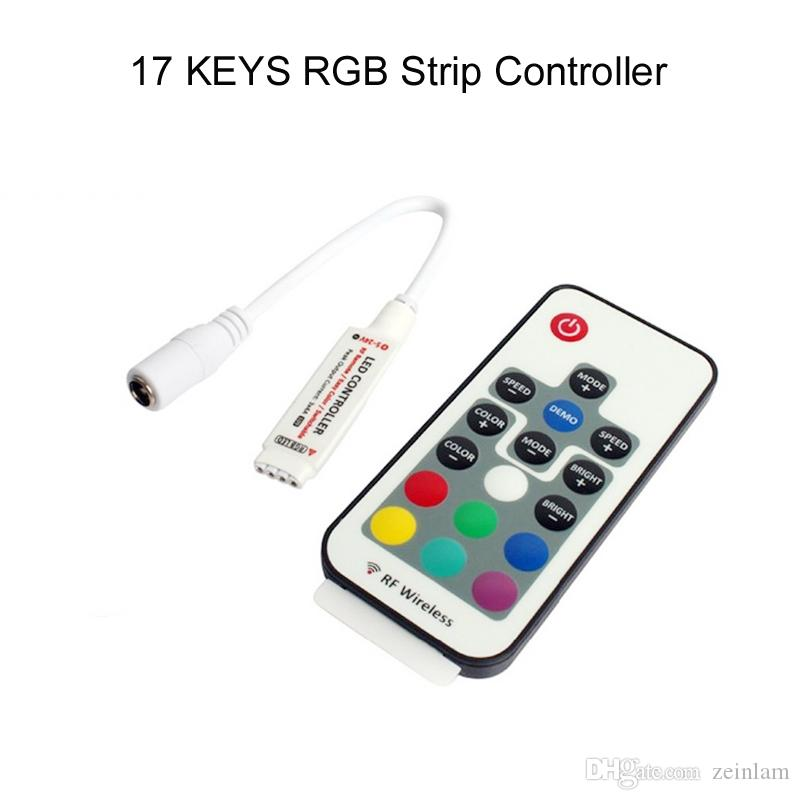 RGB LED bande DC 5- 12V 17 touches IR télécommande RGB LED contrôleur 3528 5050 smd led bande de lumière