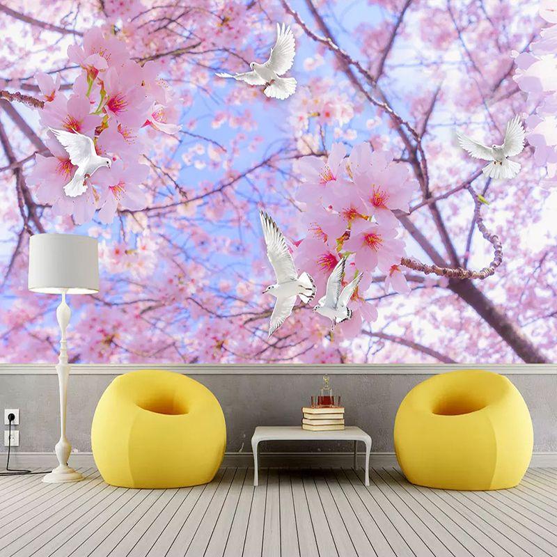 수송선 사용자 정의 3D 사진 배경 화면 아름다운 로맨틱 핑크 꽃 흰 비둘기 스카이 벽 거실 침실 홈 인테리어 벽화 페인팅