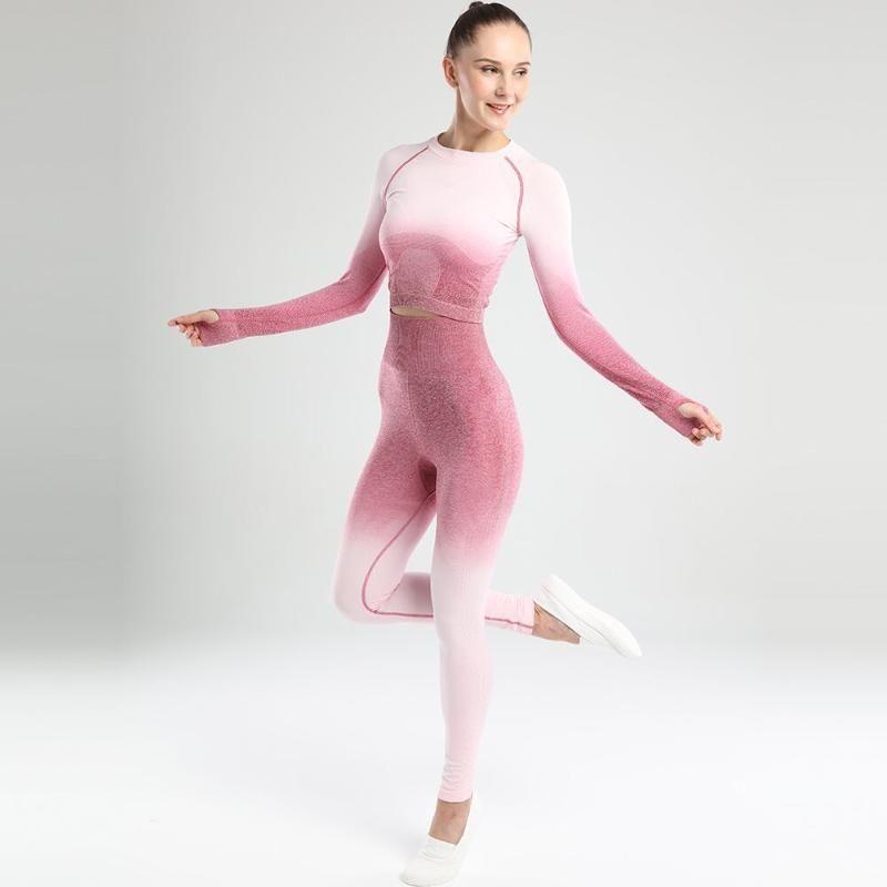 Yoga femminile seamless sportivo 2 Pz palestra vestiti di Yoga manica lunga reggiseno di sport Leggings Running Wear Magro Sport Set Suits