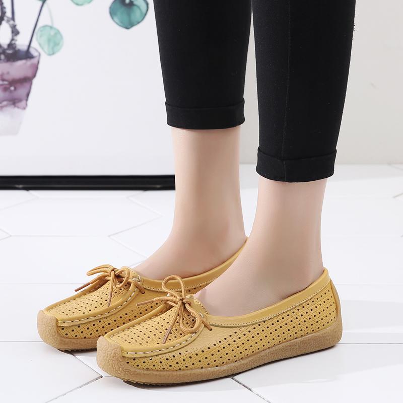Slip sólido AARDIMI escotaduras para mujer de las mujeres del verano Alpargatas zapatos de cuero genuinos Ocasional En poco profundos mocasines de los holgazanes de las señoras
