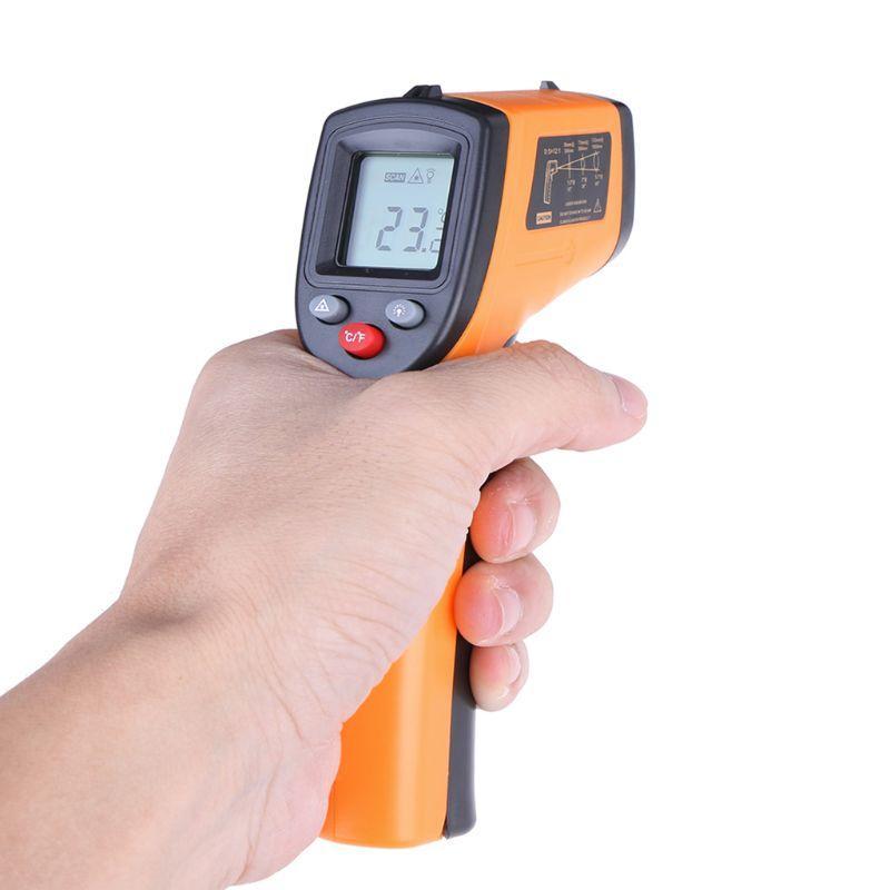 GM320 الرقمي بالأشعة تحت الحمراء ميزان الحرارة الصناعية عدم الاتصال درجة الحرارة متر البيرومتر IR نقطة بندقية -50 ~ 380 درجة