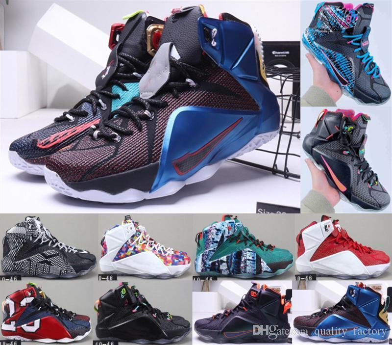 LeBro 12 PS Elite High Cut Designer Women Fashion Basketball Shoes Men Comfortable Sport Shoes Good Quality sport sneakers size 36-46