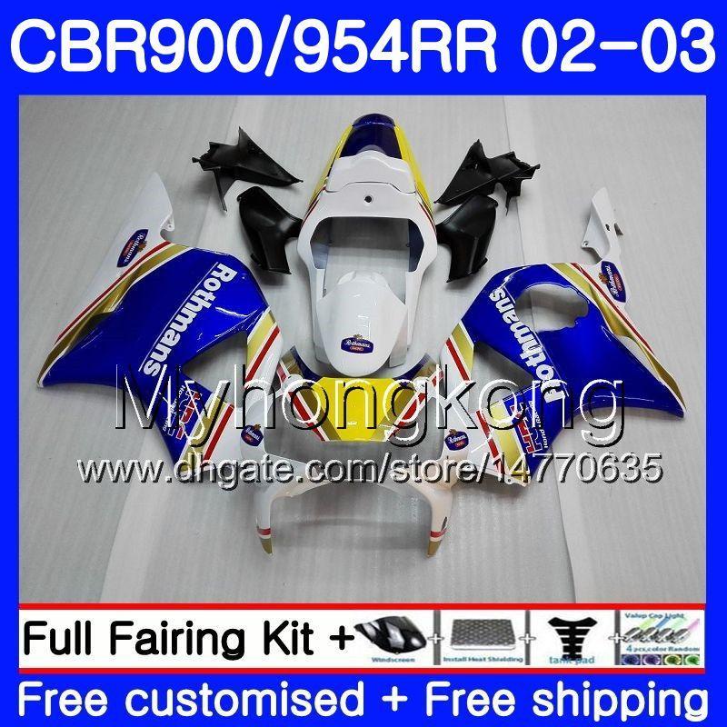 Body For HONDA CBR900RR CBR 954 RR CBR900 RR hot Rothmans Blue CBR954 RR 280HM.13 CBR 900RR CBR954RR 02 03 CBR 954RR 2002 2003 Fairings kit
