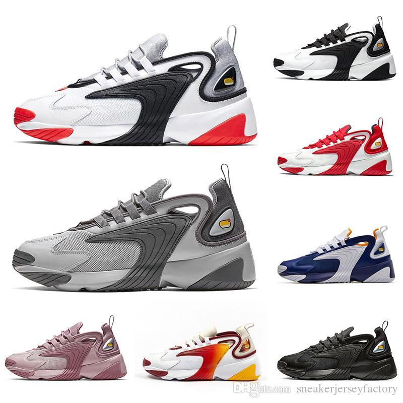 Nuevo M2k Tekno Zoom 2K Shoes 2000 Black Sail White Orange Cool Gray para mujer Diseñador Calzado deportivo para hombre Entrenador OFF NIK Tamaño 7-12