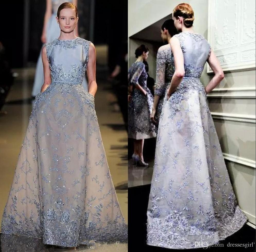 2019 Ice Blue Vintage Abendkleider Spitze Appliques Pailletten Frauen Formales Kleid Prom Party Kleid Mutter Kleid