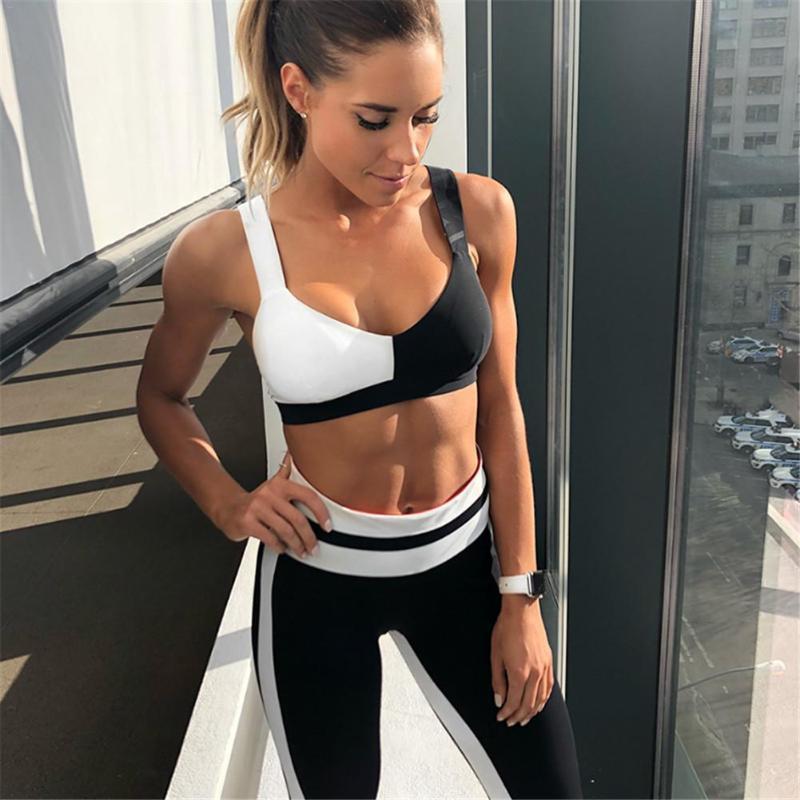 Yoga Sport Suit Women Gym Clothes Fitness Running Tracksuit Black White Patchwork Sports Bra+Sport Leggings 2 Piece Set