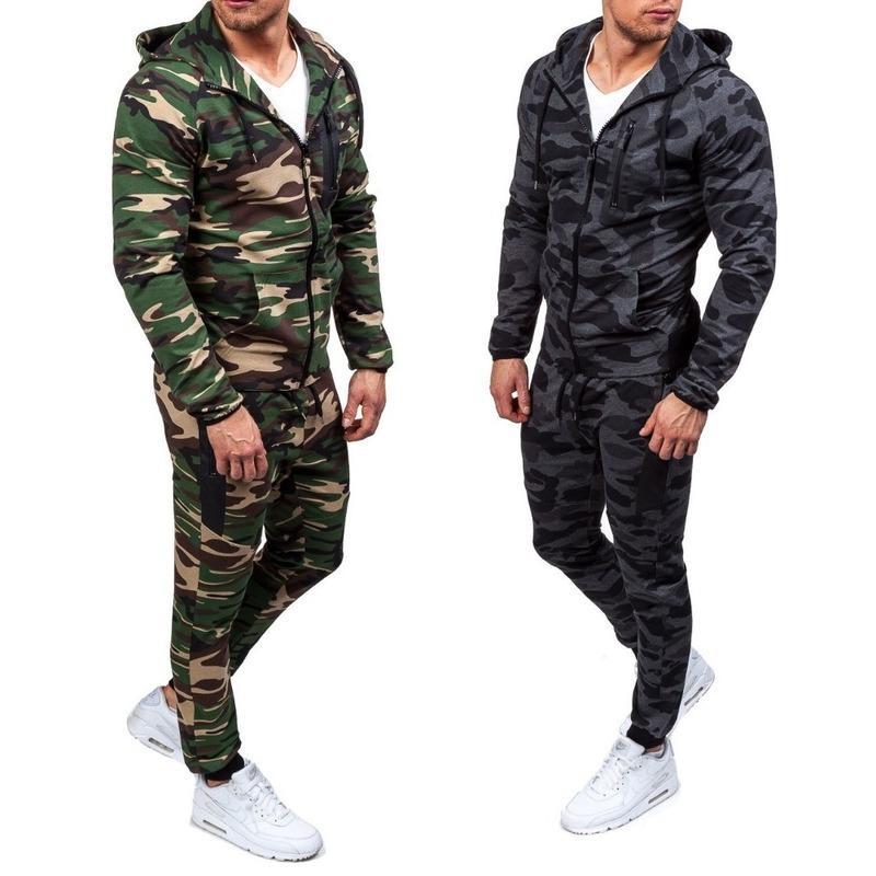 Zogaa 2019 Camouflage Giacche Set Men Camo Stampato Sportwear Maschio tuta da ginnastica Pantalone Tute con cappuccio Cappotto Pantaloni autunno inverno