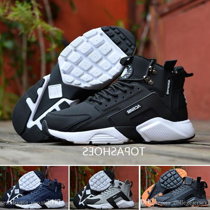 Wholesale New Arrival Huarache 6 X Acronym City Mid Zipper Leather High Top Huaraches Running Shoes Men Warm Winter Boots Size 40-45