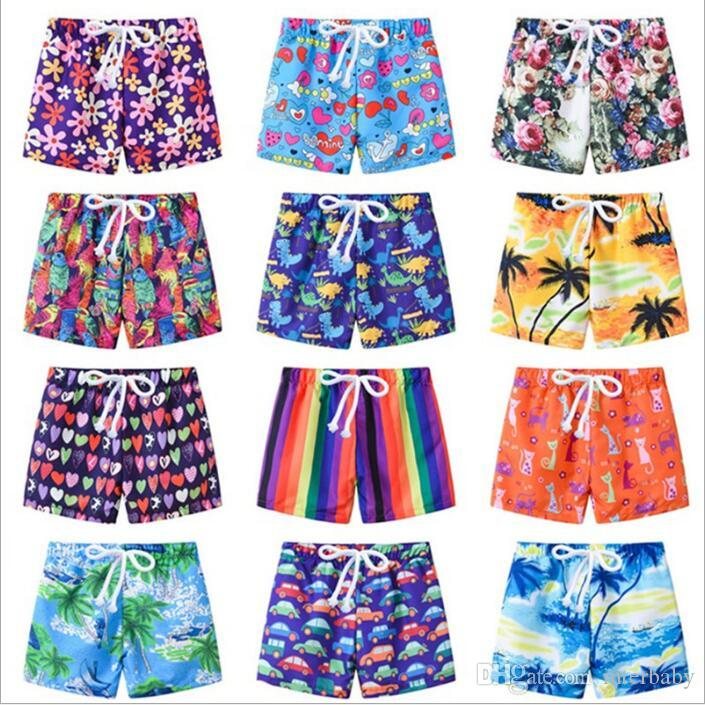 Çocuklar Mayo 2019 Kurulu Şort Erkek Yaz Yüzmek mayo Çocuk Karikatür Plaj Pantolon Kız Çiçek Baskı Şort Bebek Moda Rahat Şort B4163
