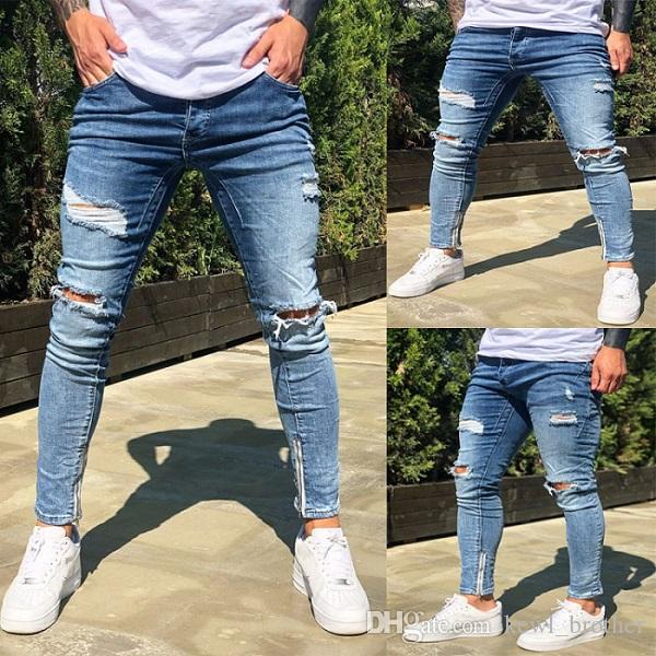 European&American Style Men's Middle Waist Stretch Skinny Denim Ankle-length Pencil Pants Plus Size Comfy Zipper Ripped Jeans Blue Trousers