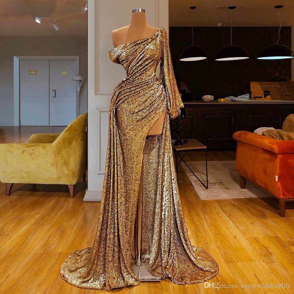 Gorgeous Muslim Formal Evening Dresses 2020 Long One Shoulder Mermaid Prom Dress High Split Cocktail Dress Party robe de soiree