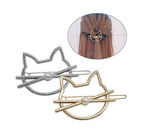 Trousse de chat creux douce avec accessoires de cheveux perles Accessoires d'or) Puisselle à cheveux en métal géométrique argenté