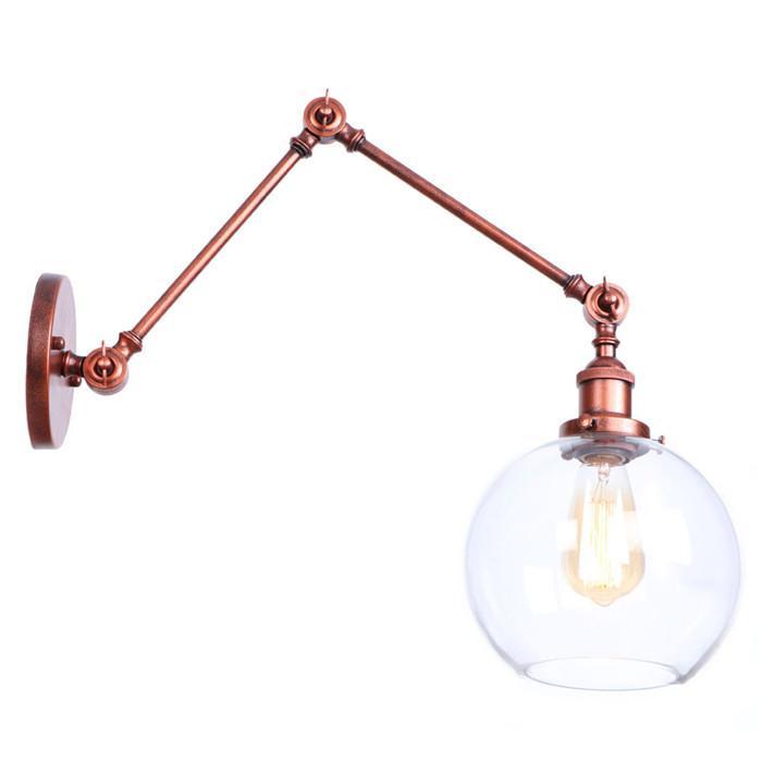 AC 110v 220v Art Decor 21+21cm double swing arms wall light sconces Clear Globe Ball glass shade Rustic modern Retro lamp espelho de parede