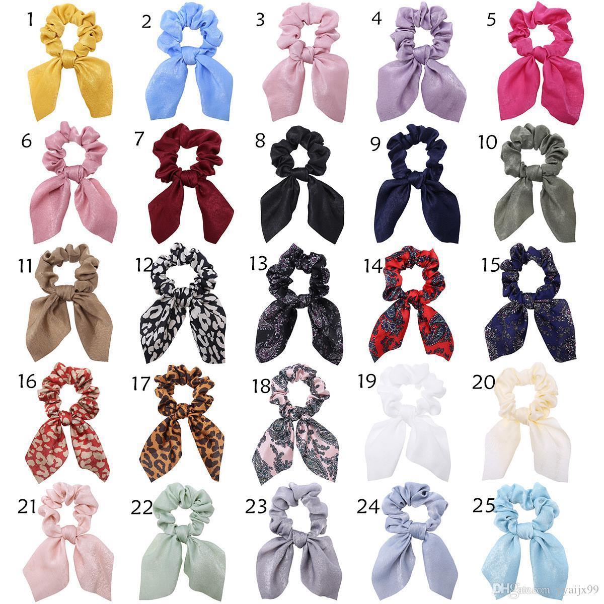 25 couleurs Vintage Big Bow long Chouchous cheveux Bow Femmes Accessoires Bandeaux Liens Scrunchie Porte-caoutchouc Corde Ponytail Décoration