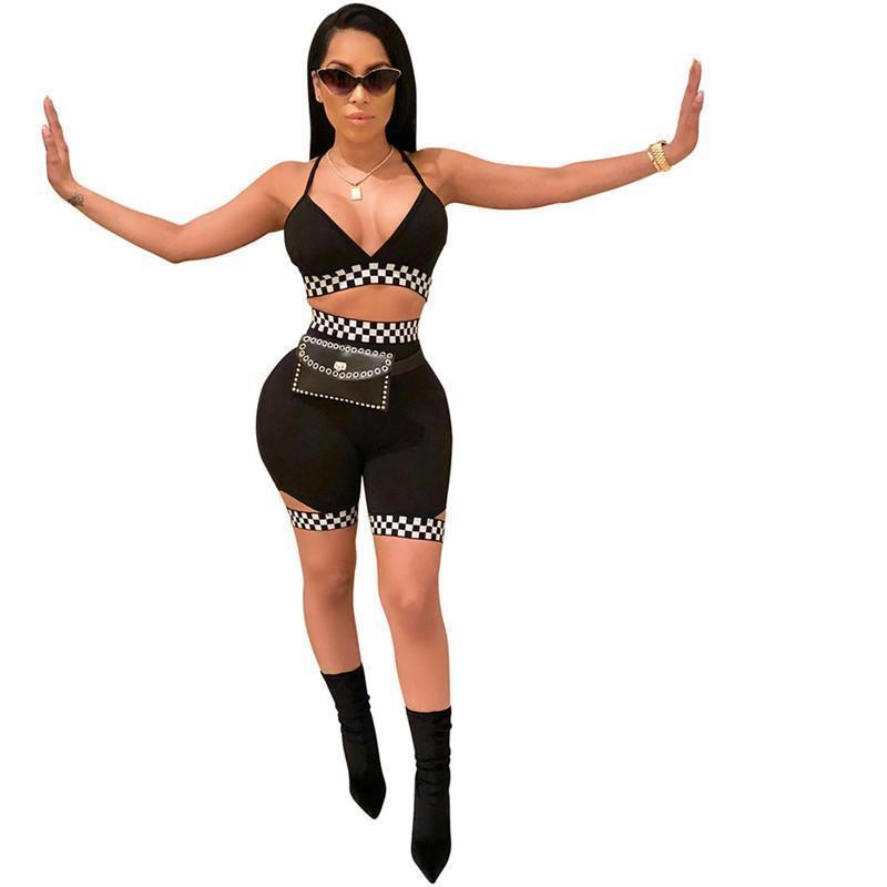 Party Sexy наборы Красный Синий Лоскутная Summer Trend Lady Gym Фитнес Йога Одежда Хорошо Упругие Тонкий затягивайте Бедра Шорты + бюстгальтер костюмы